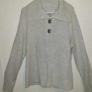 Sag Harbor Gray Knit Pullover Sweater Big buttons
